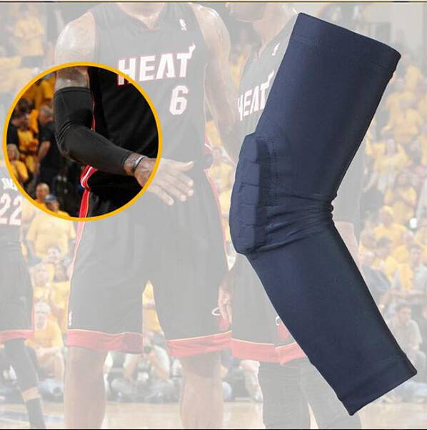 NEW Mens Compression Black Elbow Padded Basketball Arm Sleeve