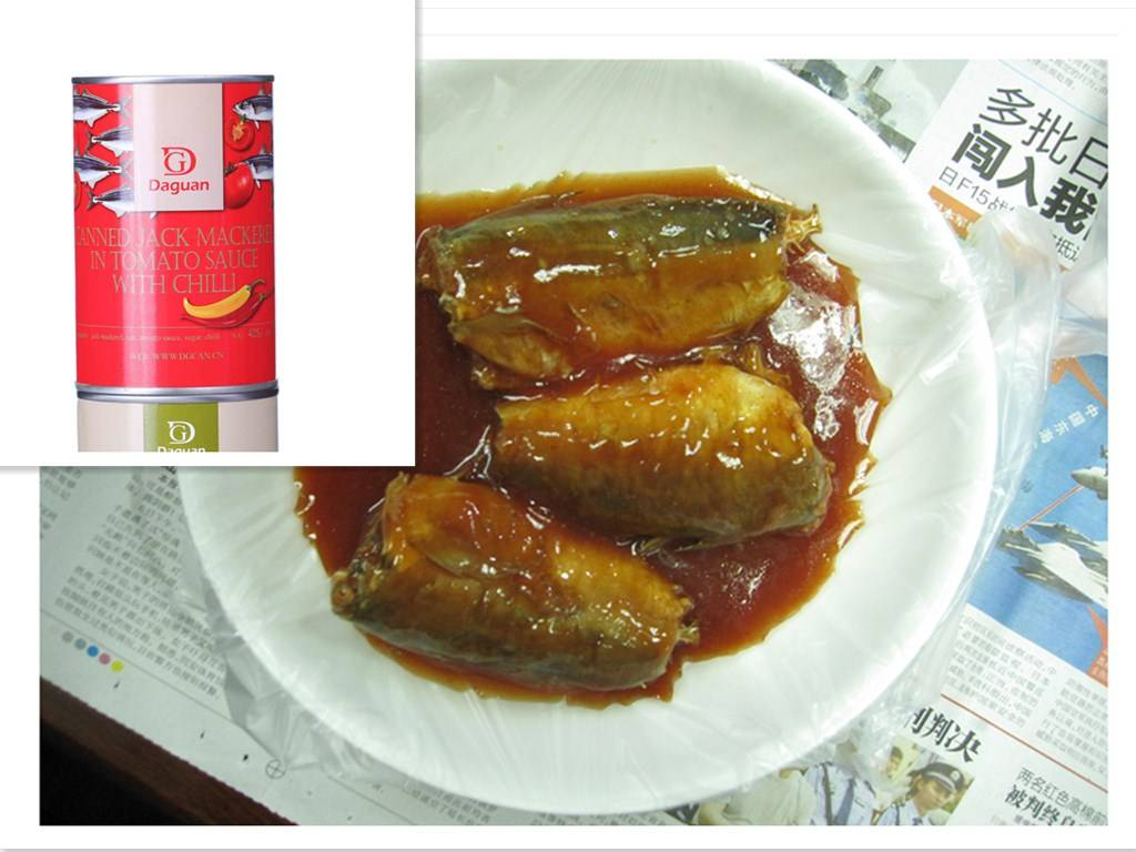 Stock canned Jack Mackerel in Tomato Sauce,canned fish manufatcurer, cylinder can, halal, haccp cert