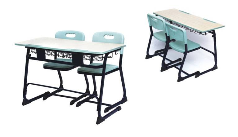 Doubel school desk and chairs,double children furniture