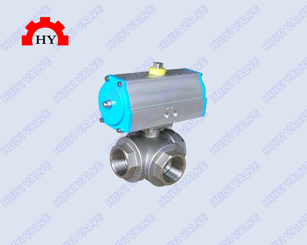 3 way female thread ball valve with pneumatic actuator