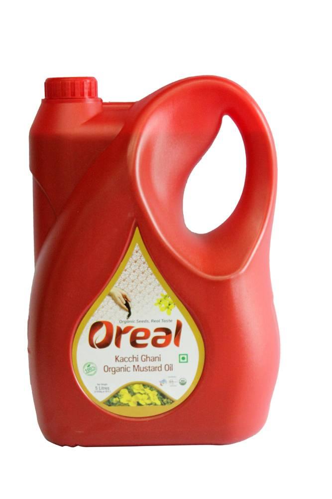 OREAL ORGANIC KACCHI GHANI MUSTARD OIL 5LTR (PACK OF 4)