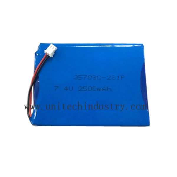 Rechargeable 7.4v 2500mah 2S1P 357090 custom lipo battery pack