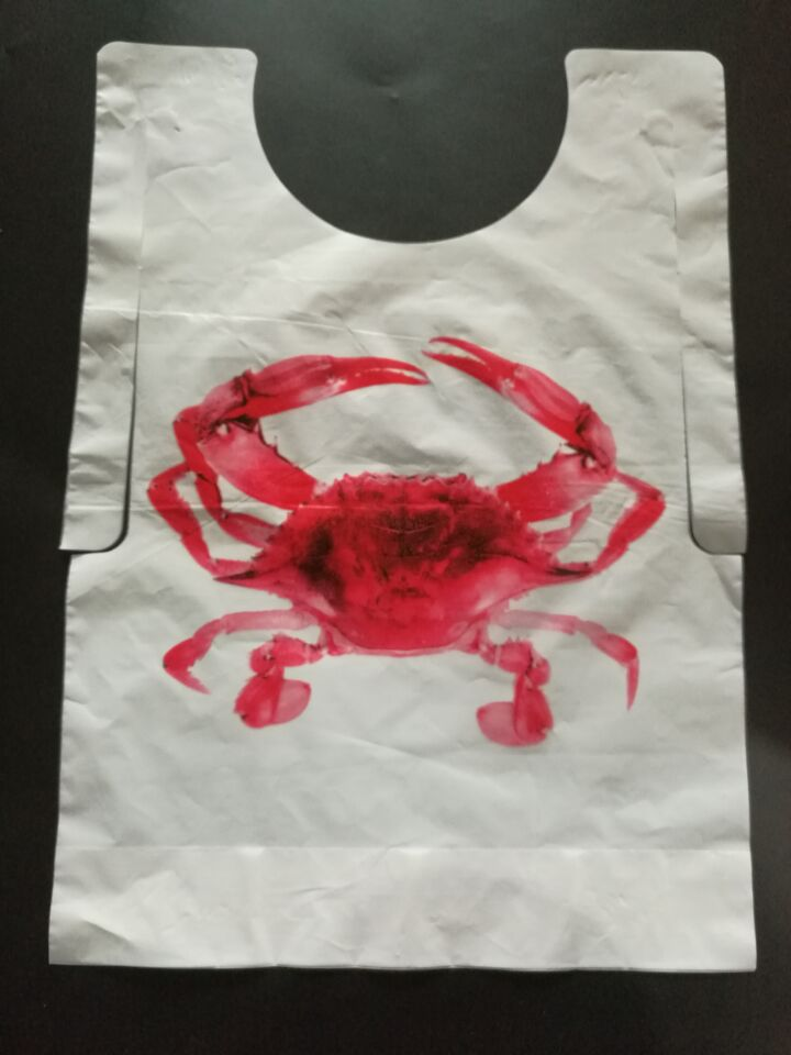 Disposable Printed Red Crab Plastic Bib