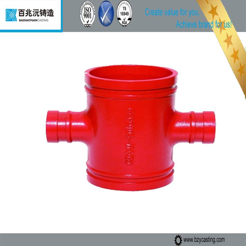 Grooved Cast Iron drain four way Cross Tee Pipe Fittings