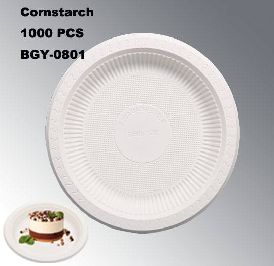BGY-0801 Plate degradable high quality cornstarch tableware