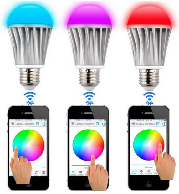 220V 110v 7w rgb+warm white led RGBW bluethooth bulb