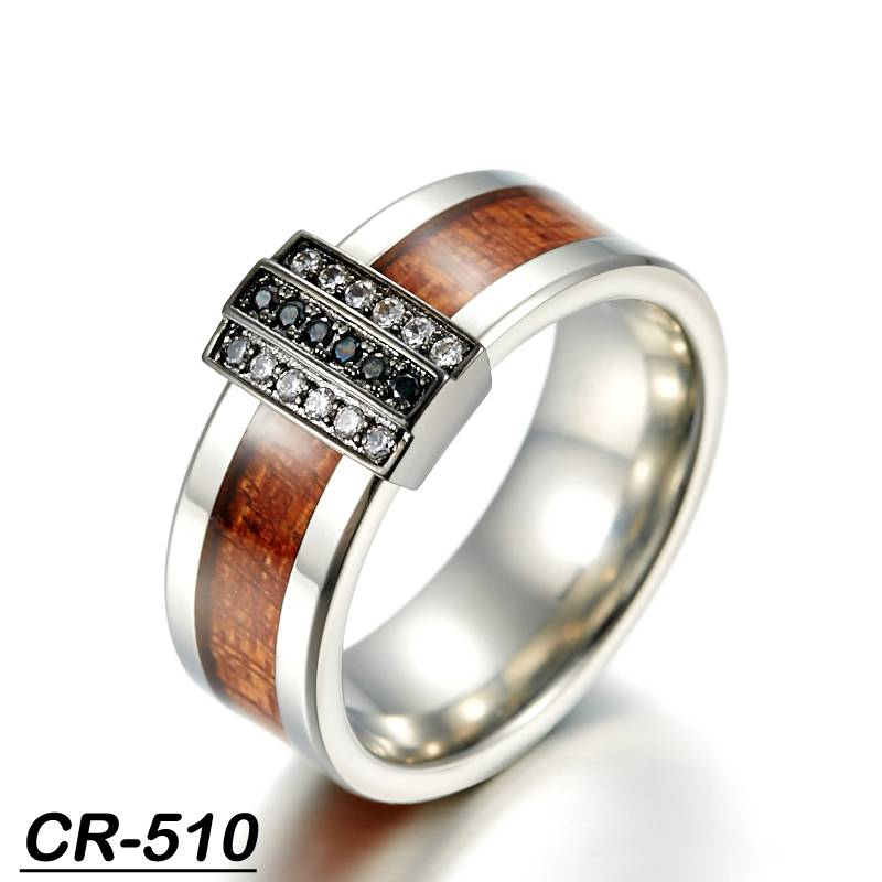 KOA wood inlay fashion ring silver with zircon stone inlayed tungsten ring