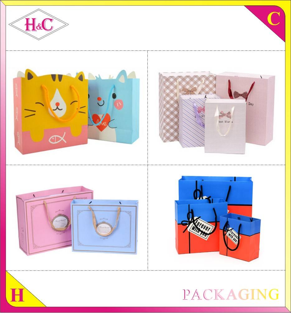 Manufacture paper handle customized design gift printed kraft shopping bag