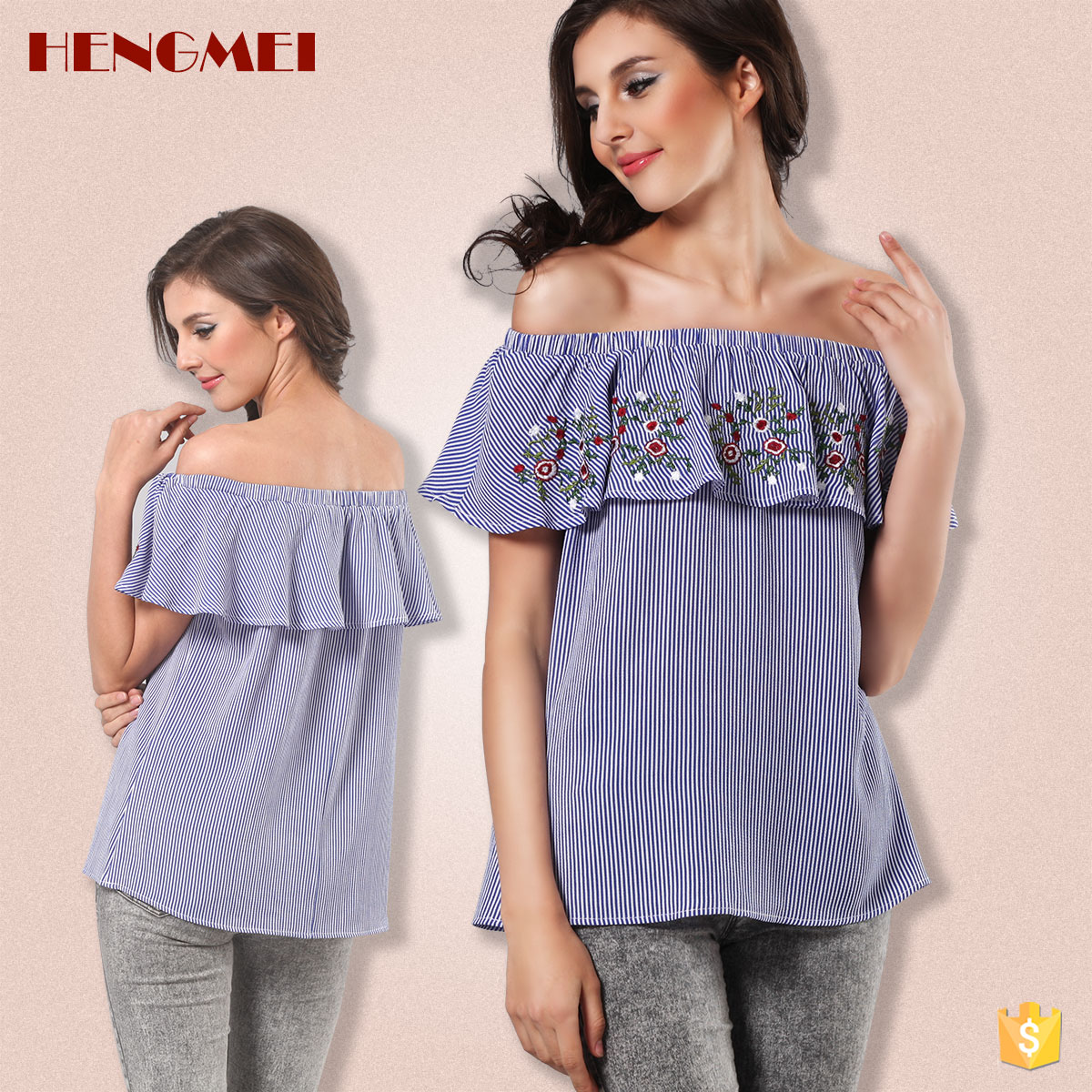 Hengmei woman sexy shirt embroidered blouse off shoulder chiffon top