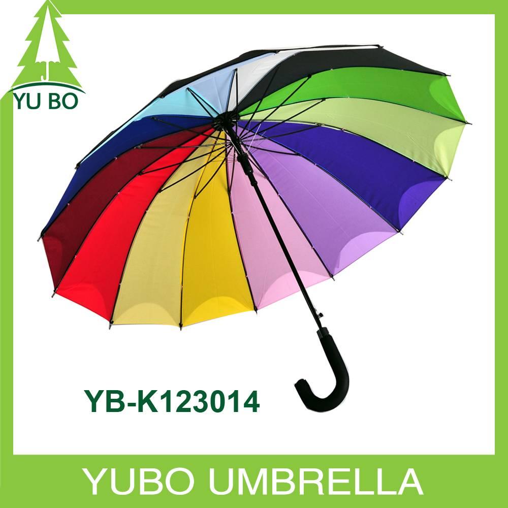 23 inch 14 ribs straight auto open rainbow umbrella