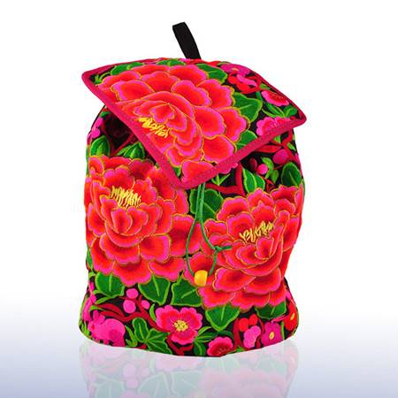 Custom embroidered backpack women canvas backpack with flower embroidery schoolbag backpacks