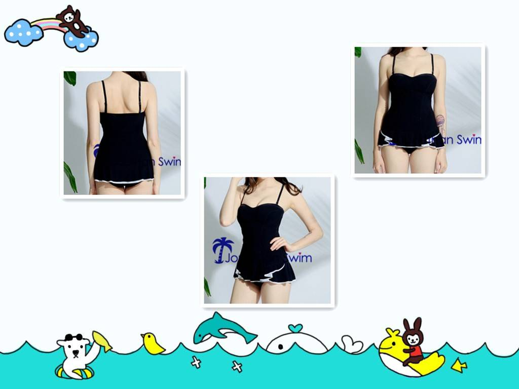 Girl's Slim Padded Up Black One Piece with Nifty Skirt Hem Swimwear.