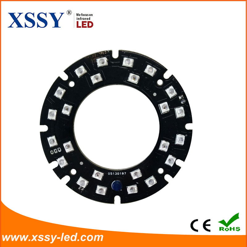 24pcs 14mil 2835 SMD Infrared LED PCB Board with Epistar or Sanan Chip for Surveillance Cameras