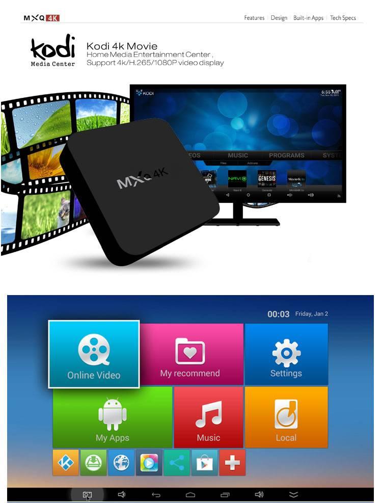 MXQ-4K RK3229 Quad Core Andorid 4.4 TV BOX MXQ 4K 1GB/8GB 2.4GHz WiFi H.265 60tps KODI OTA Mini PC a