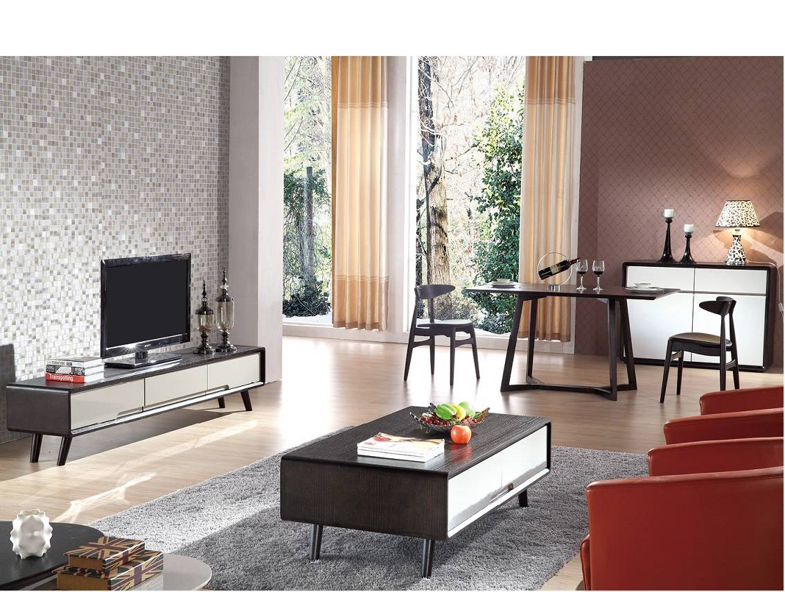 Wallnut Northern Europe style living room sets for Korea
