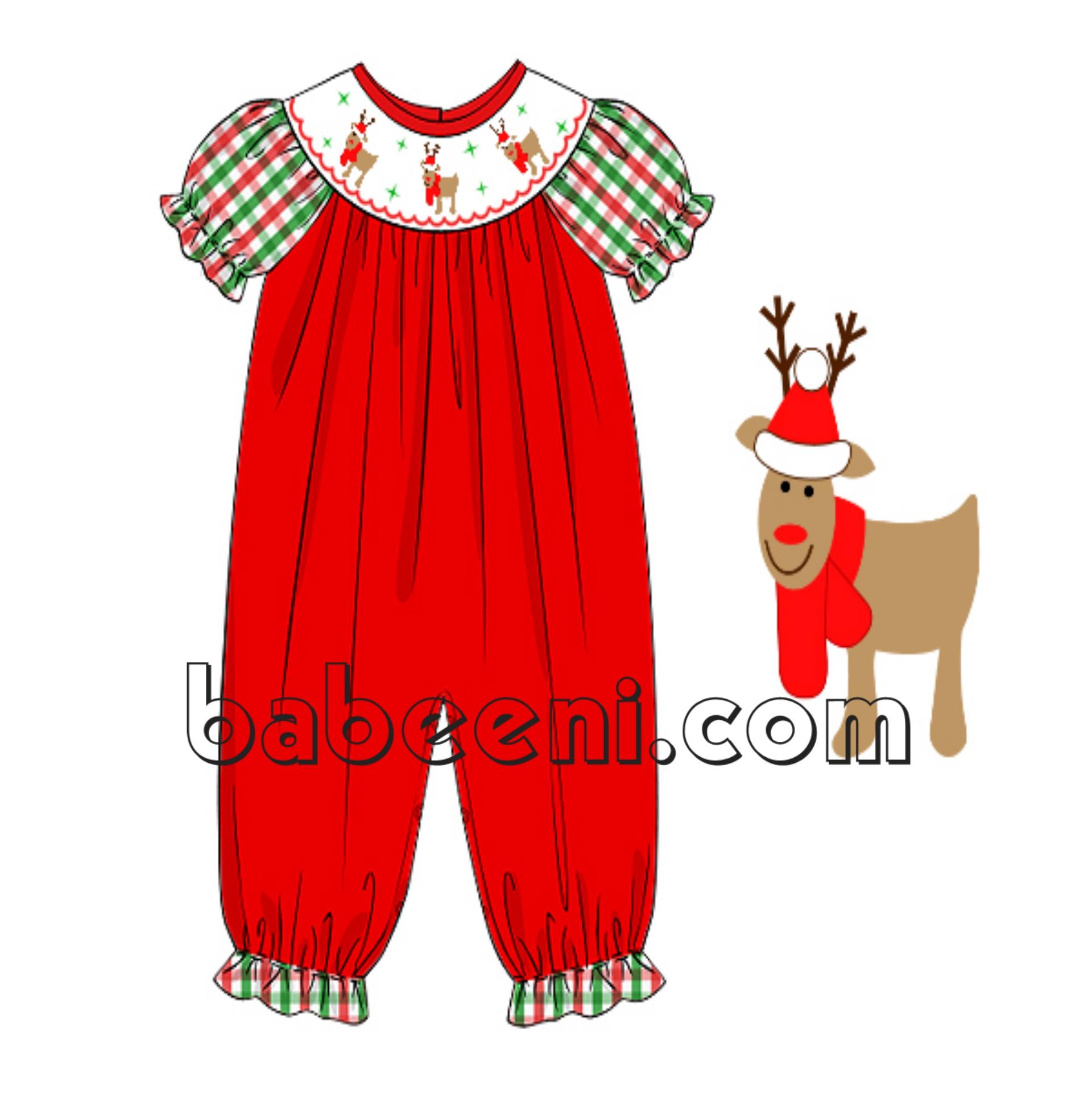 Lovely reindeer smocked bubble for girl
