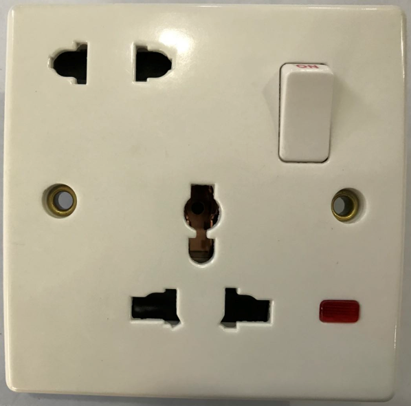 (SC) 16A+MF switched socket with neon