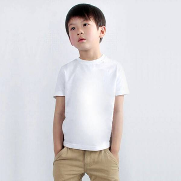 OEM 100% Cotton White T-Shirt Children Custom Round Neck T-Shirt Wholesale Made In China