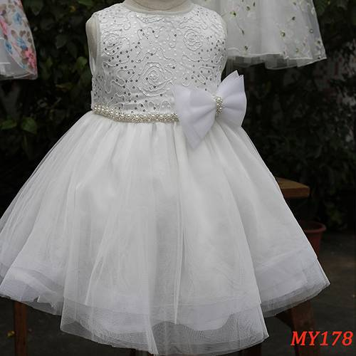 Beaded bow belt one piece girls party dresses for wedding flower girls