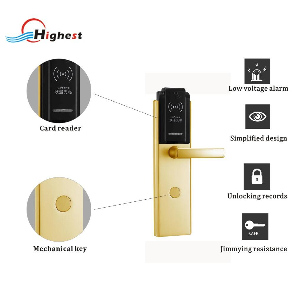 RX1028E-J RFID electric ic card door lock for hotel american style hotel door card lock