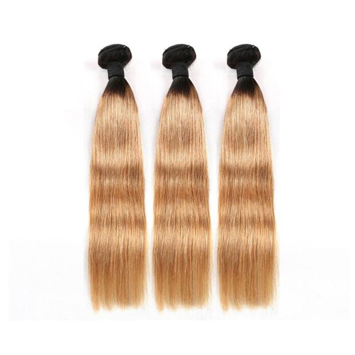 LEDON Hair Weft, Straight, color 1b/27,100% Human Hair Extensions,100g, 1 Piece