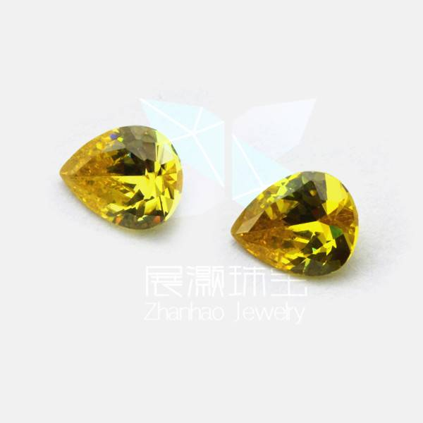Pear shape cz gemstones yellow color jewelry beads