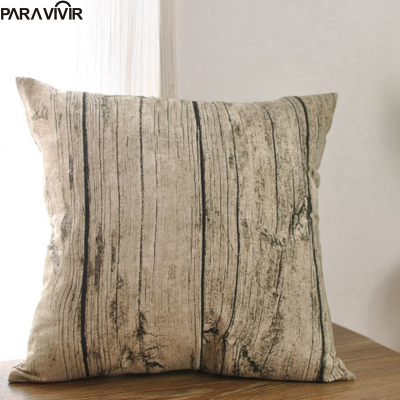 Pillow Case Wooden Grain Cushion Cover Decorative Conjines Fundas Cotton Linen Throw Pillows Cover