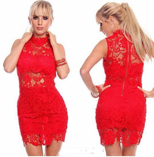2016 top quality vintage style lace fabric high collar summer bodycon dress