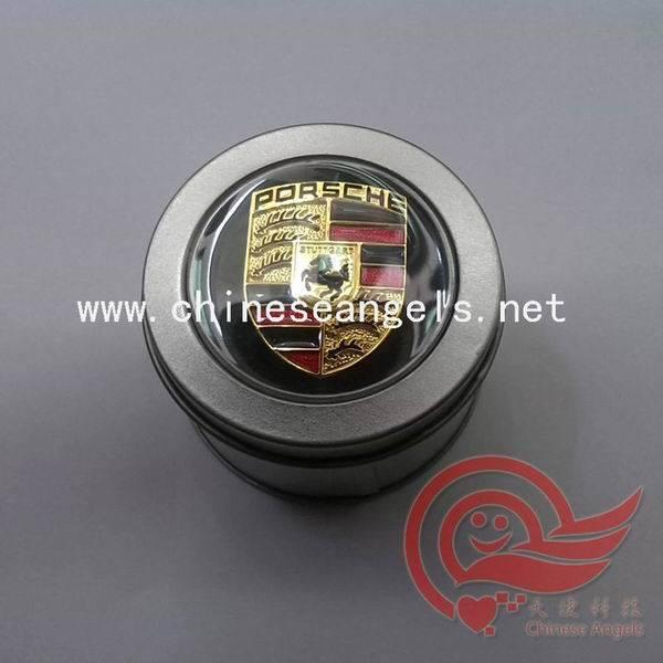 car perfume with Porsche logo metal box