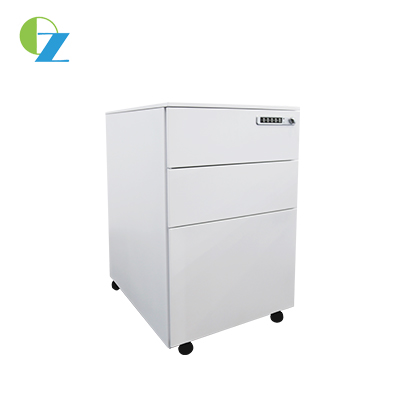 Filing steel mobile cabinet with 3 drawers, 3 section slide way, fold key, Size:620x390x500mm
