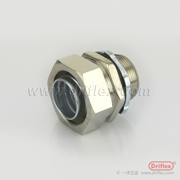 Nickle Plated Brass Straight Connector with Locknut Ferrules for Flexible Bare Metal or PVC Coated C