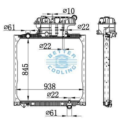 HIGH PERFORMANCE TRUCK RADIATOR FOR MAN TG-A(02-) OEM: 81061016482/81061016511