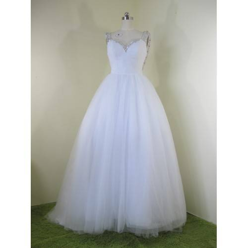 GLAMOROUS BALL GOWN SATIN& TULLE SWEETHEART SHOULDER WITH STRAPS RHINESTONES SWEEP TRAIN WEDDING DRE