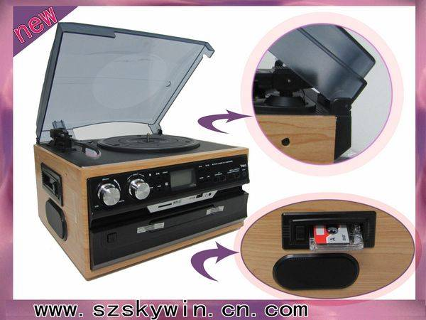 wooden turntable music player with USB/mp3/cd/casstte players