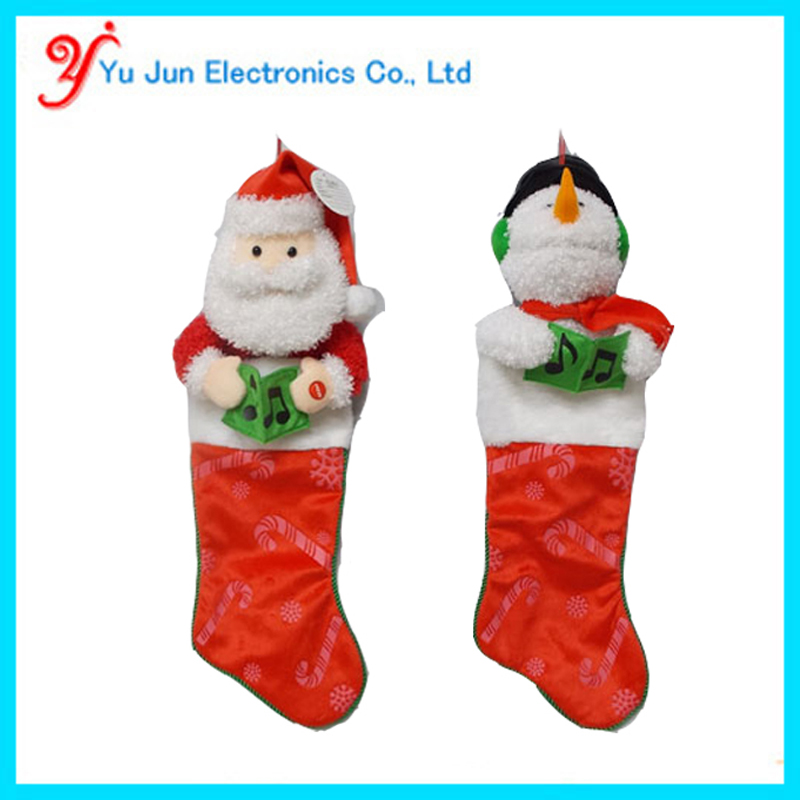 Animated christmas singing stocking