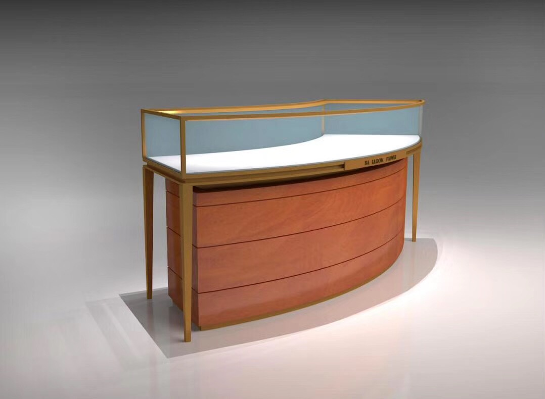 Jewelry display showcase with LED light and glass display cabinet