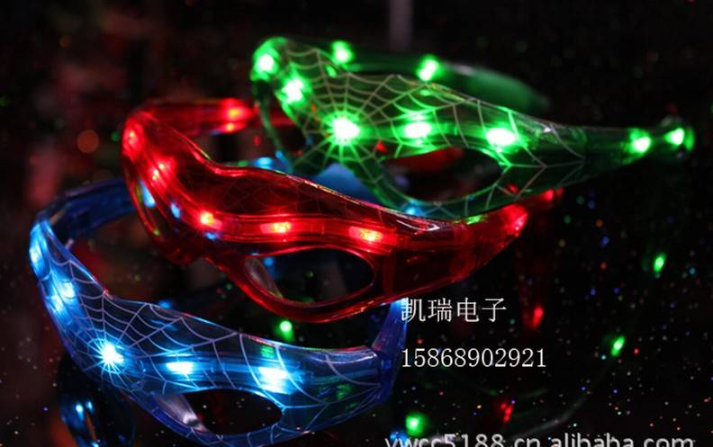 christmas toy LED glasses SPIDER carnival festival holiday supplies party decoration luminous christ