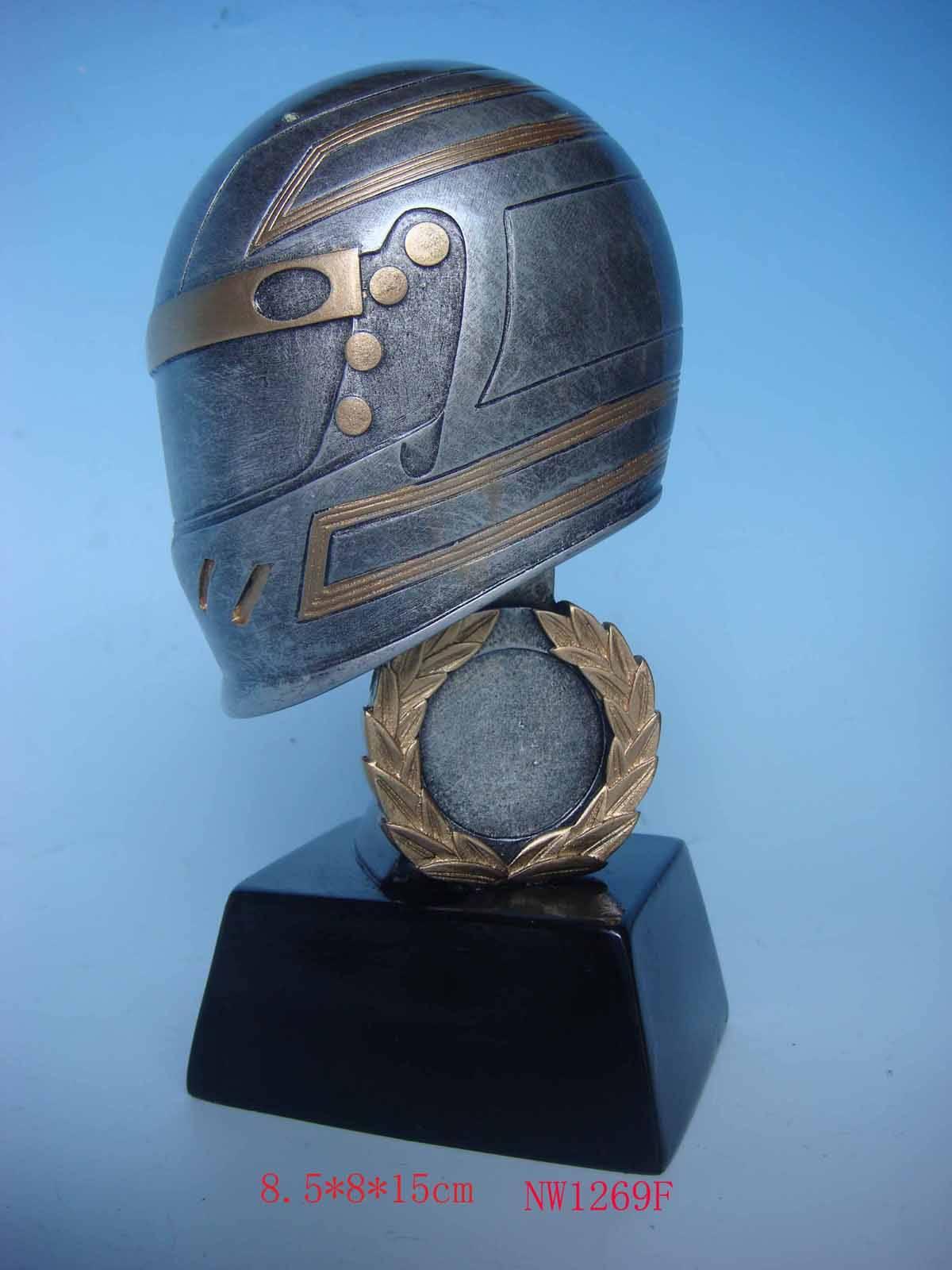 resin helmet statue,helmet figurine,polyresin racing awards,resin awards