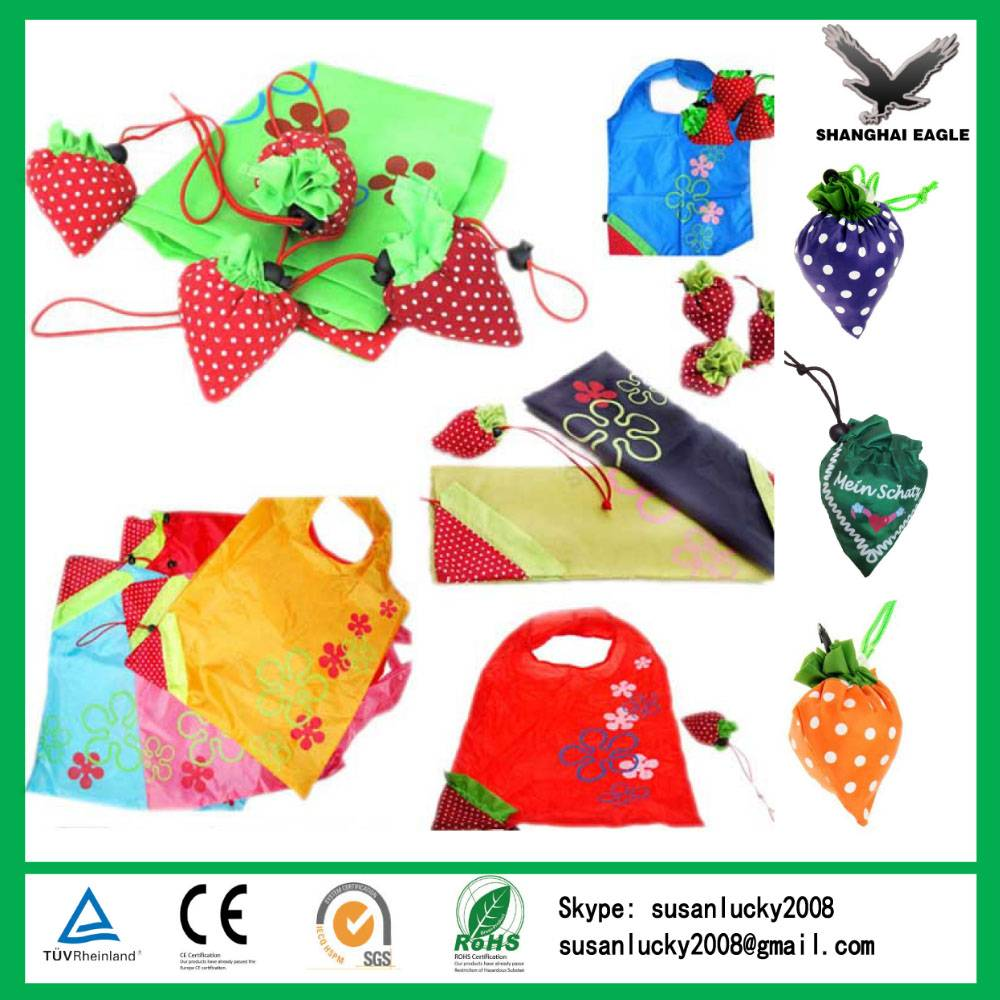 Logo Printed Polyester Reusable Strawberry Bag (directly from factory)