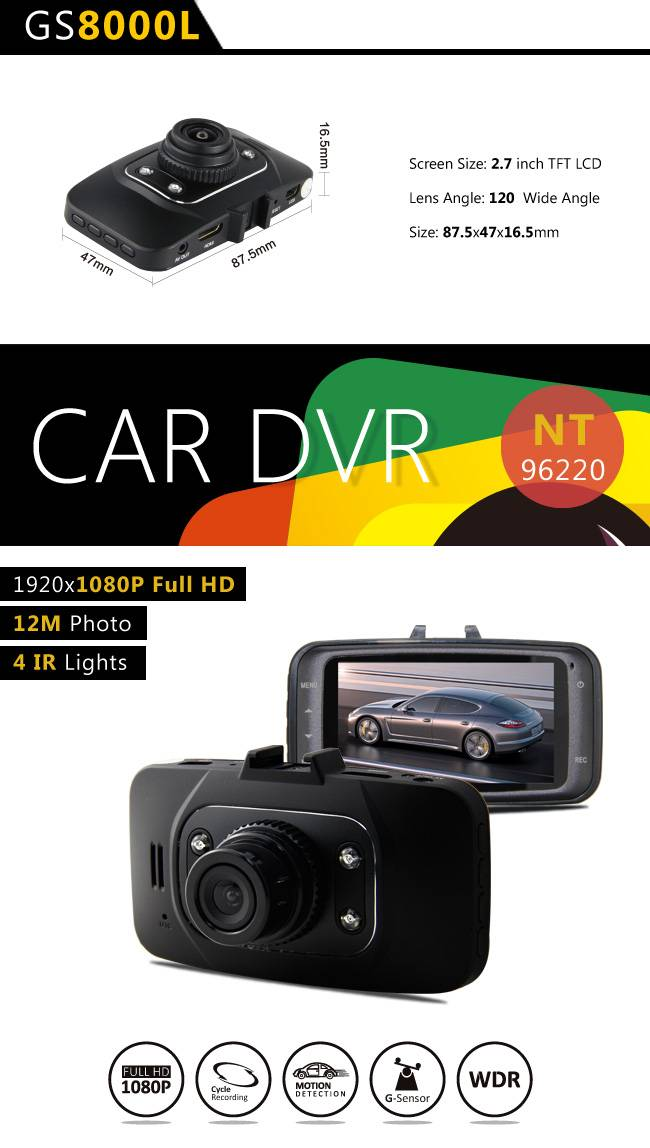 Popular sale GS8000L HD Car DVR Traveling data recrorder black box