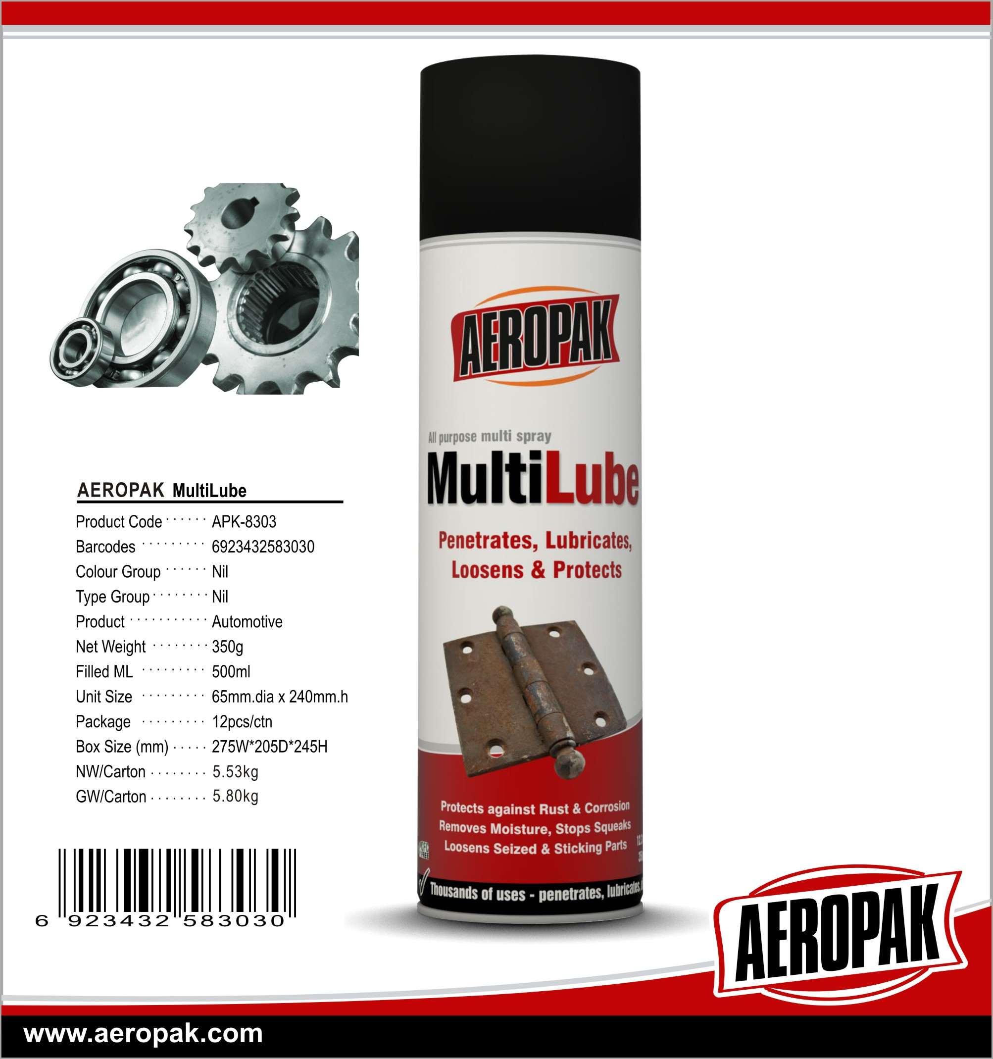 AEROPAK High Quality All Purpose MultiLube&Anti Rust Lubricant for Car Cleaning