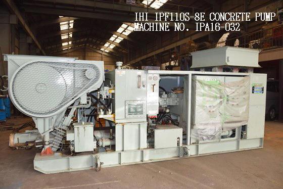"USED (SEMI-OVERHAULED) ""IHI"" MODEL IPF110S-8E STATIONARY TYPE CONCRETE PUMP S/NO. IPA16-032 CAPACITY"