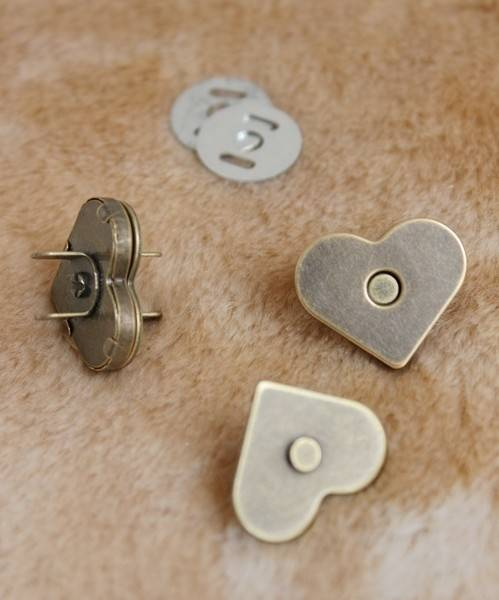 nickel/brass heart magnetic snaps magnetic button for bags