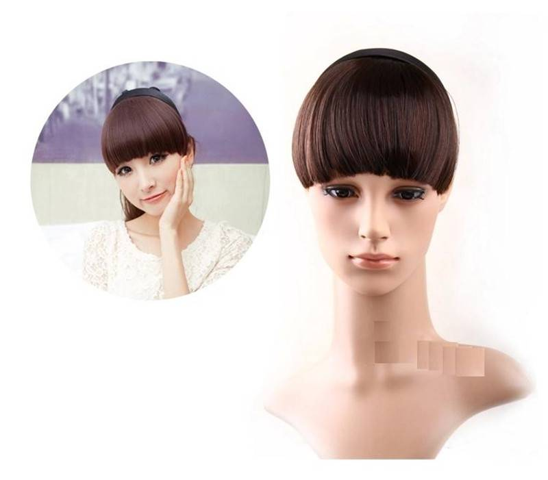 Synthetic clip on neat bang
