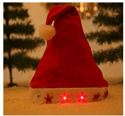Festival Party Merry Christmas LED Christmas Hat Santa Hat With Flash