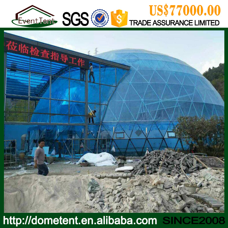 Prefab House 4-60m Diameter Geodesic Glass Dome Tent