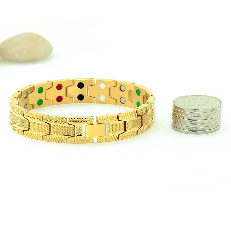 5 in 1 Bio Magnetic New Gold Bracelet Designs for Body Health