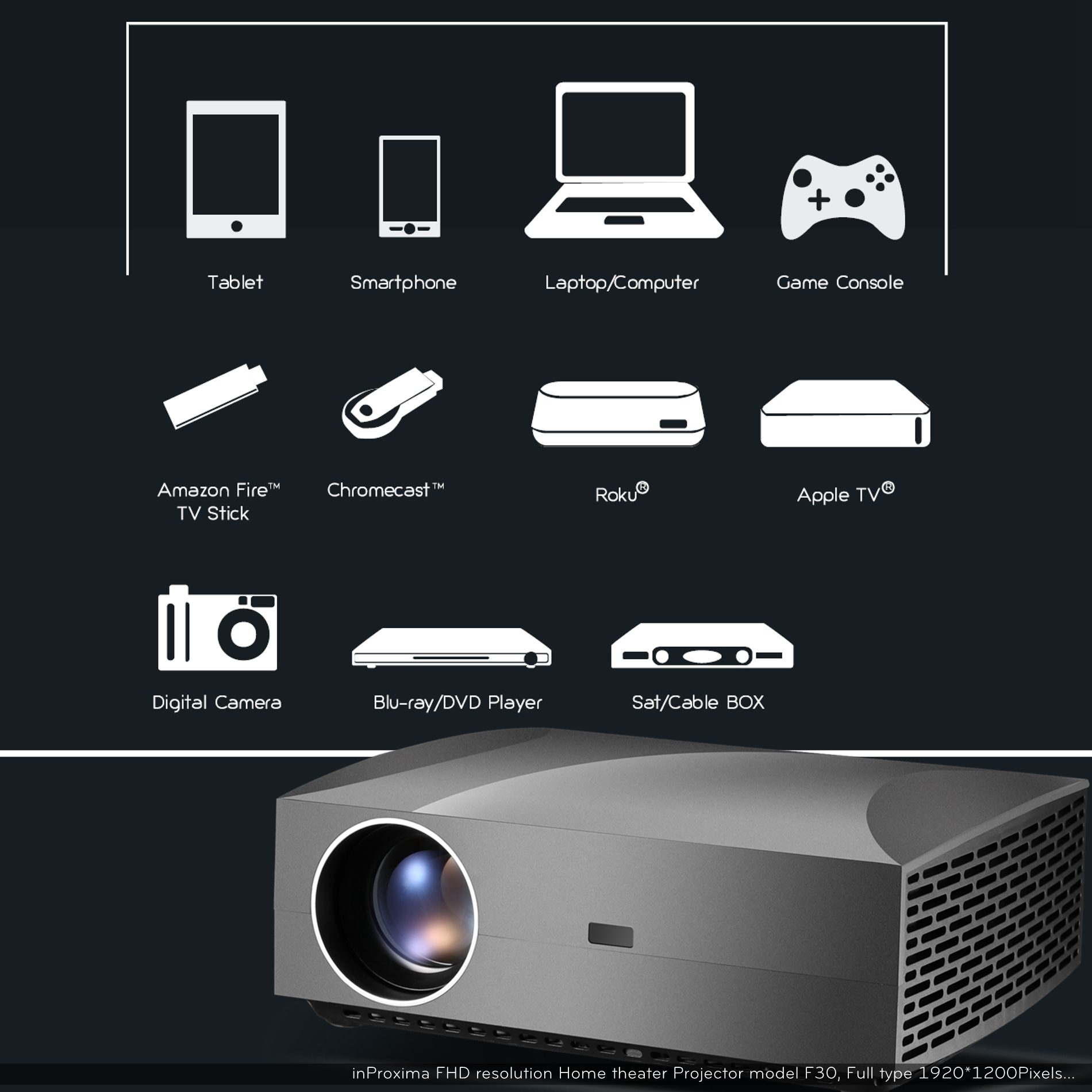 inProxima 2019 New F30UP 1920X1080P HD 4200 Lumens LED Android TV Smart Home Theater Projector