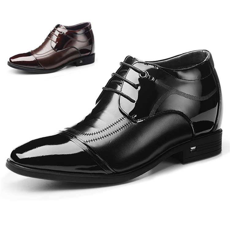 Men Winter Warm Leather Dress Shoes Height Increasing