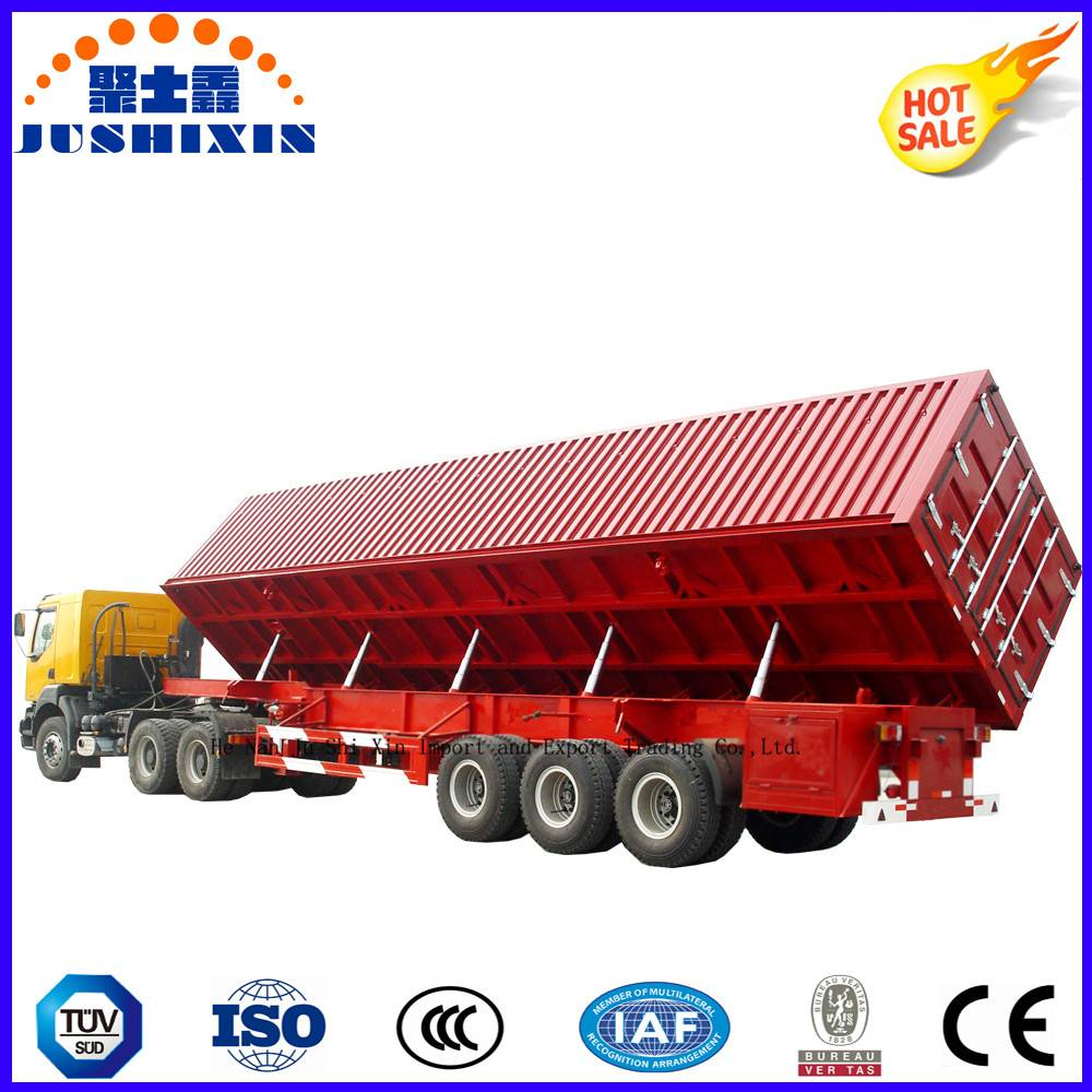 Quality Trustworthy 3 BPW Axle Stake Cargo Side Self-Dumping Dumper Truck Trailer with Side Wall